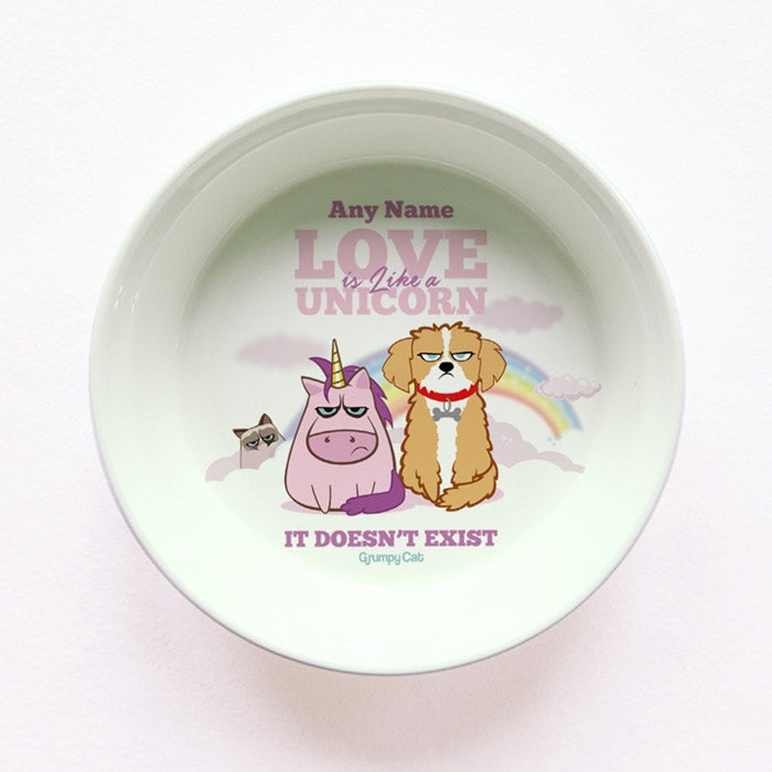 Grumpy Cat Unicorn Small Dog Bowl - Image 1