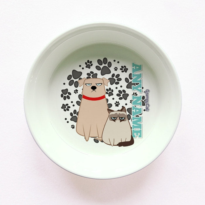 Grumpy Cat Grey Paw Pattern Small Dog Bowl - Image 1