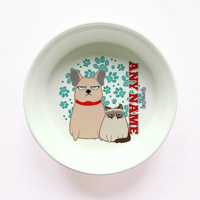 Grumpy Cat Mint Paw Pattern Small Dog Bowl - Image 1