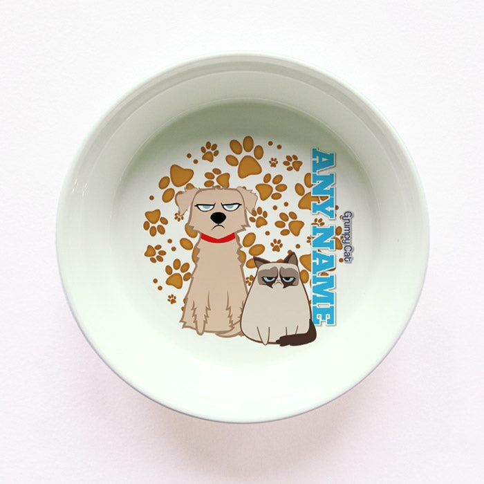 Grumpy Cat Orange Paw Pattern Small Dog Bowl - Image 1
