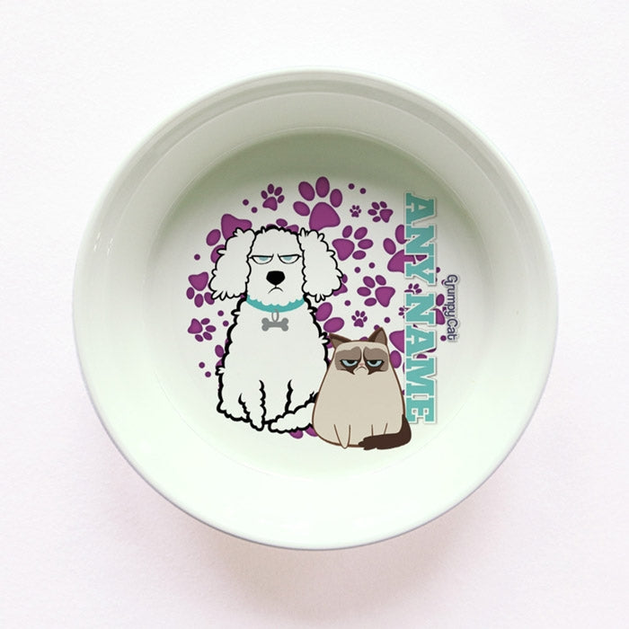 Grumpy Cat Purple Paw Pattern Small Dog Bowl - Image 1
