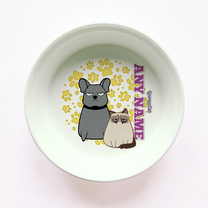 Grumpy Cat Yellow Paw Pattern Small Dog Bowl - Image 1