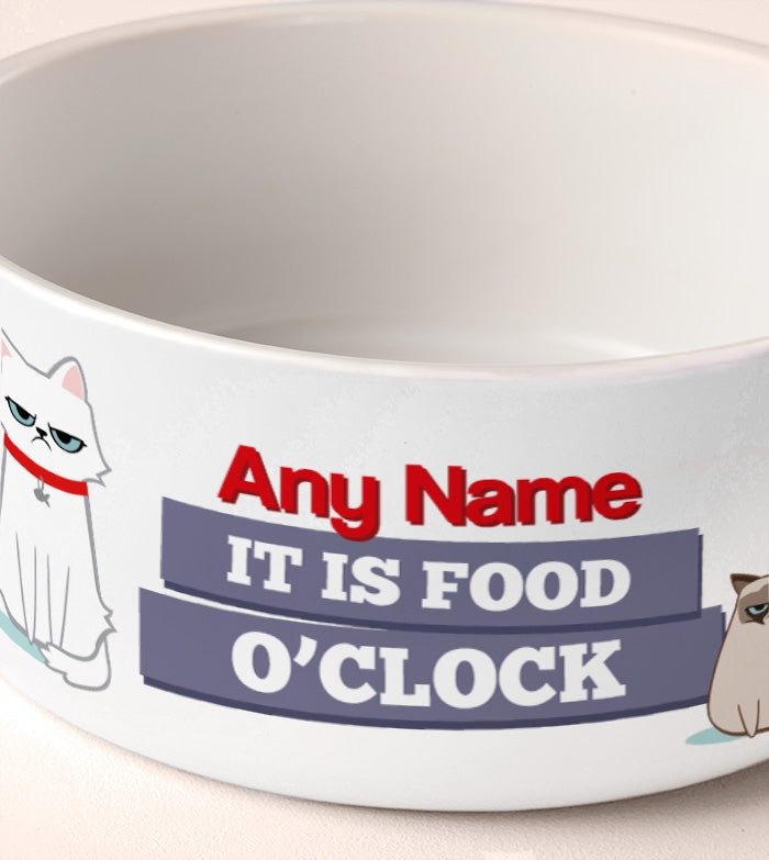 Grumpy Cat Food O'Clock Dog Bowl - Image 2