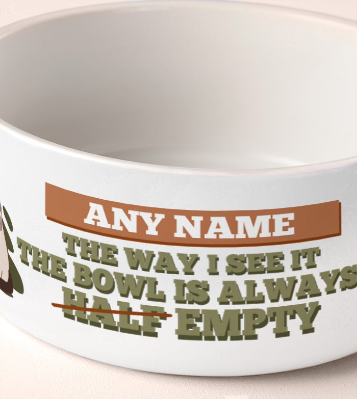 Grumpy Cat Bowl Half Empty Dog Bowl - Image 2