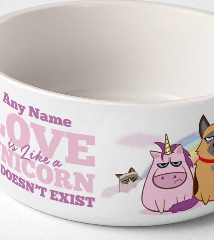 Grumpy Cat Unicorn Dog Bowl - Image 3
