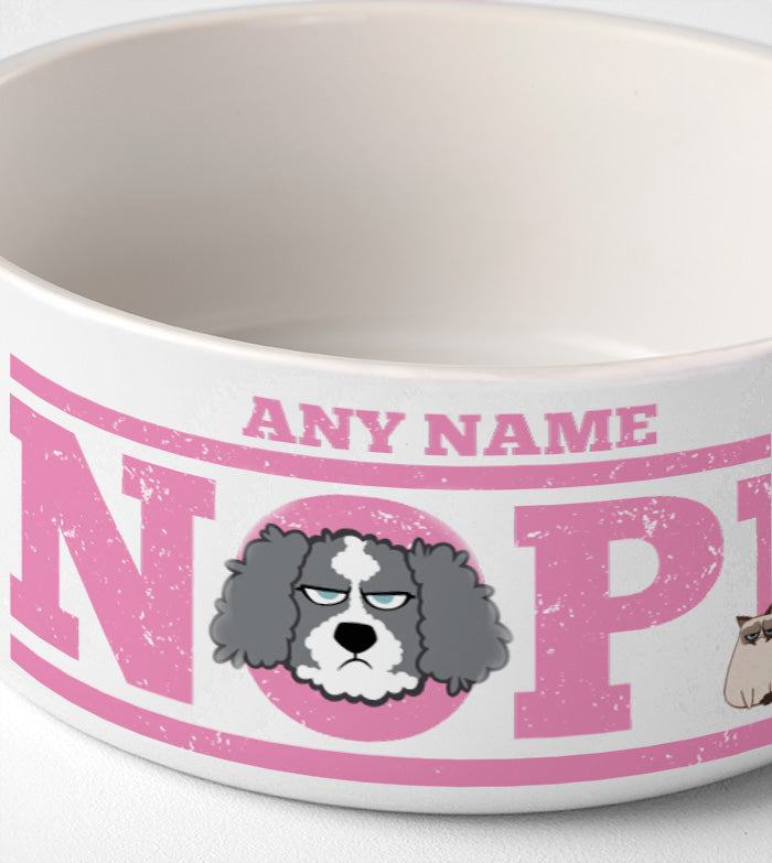 Grumpy Cat Pink Nope Dog Bowl
