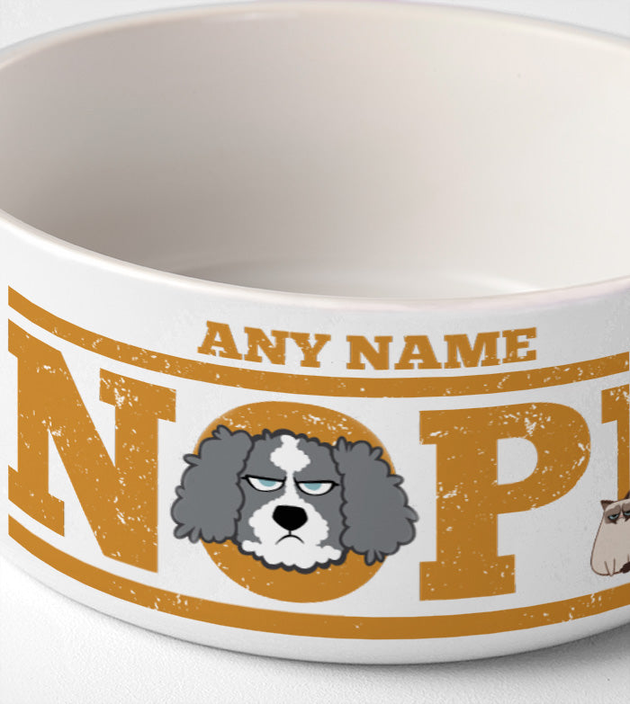 Grumpy Cat Orange Nope Dog Bowl