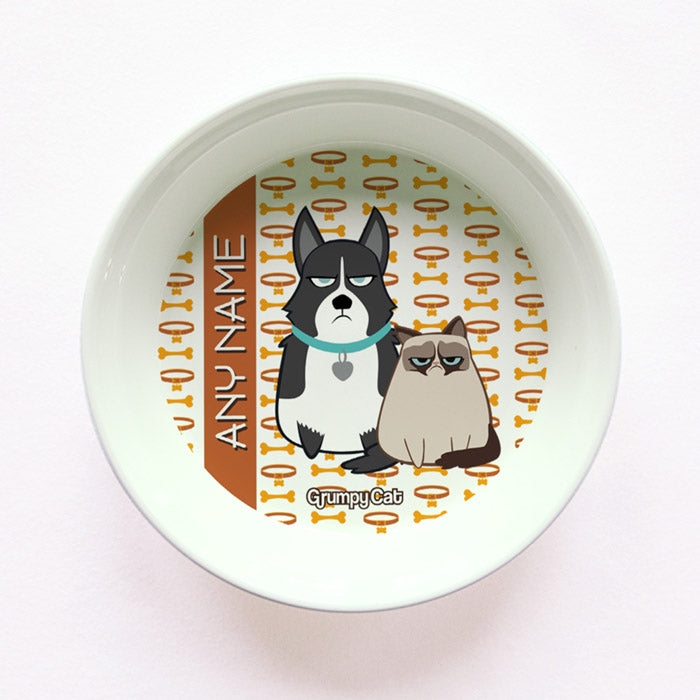 Grumpy Cat Bone Collar Small Dog Bowl - Image 1