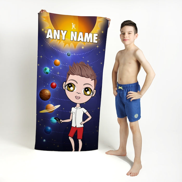 Jnr Boys Space Galaxy Beach Towel - Image 1