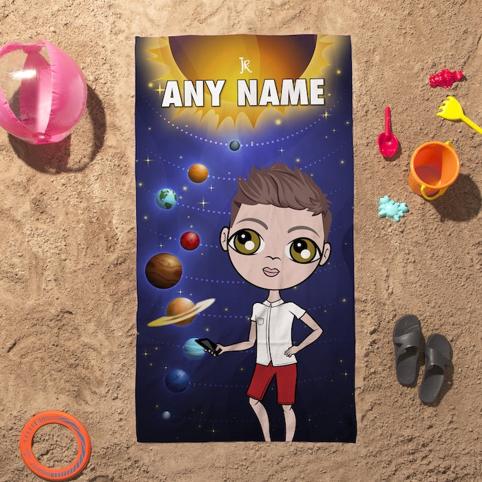 Jnr Boys Space Galaxy Beach Towel - Image 3