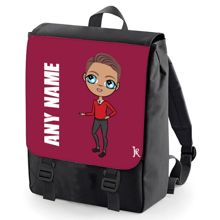 Jnr Boys Burgundy Print Backpack - Image 2