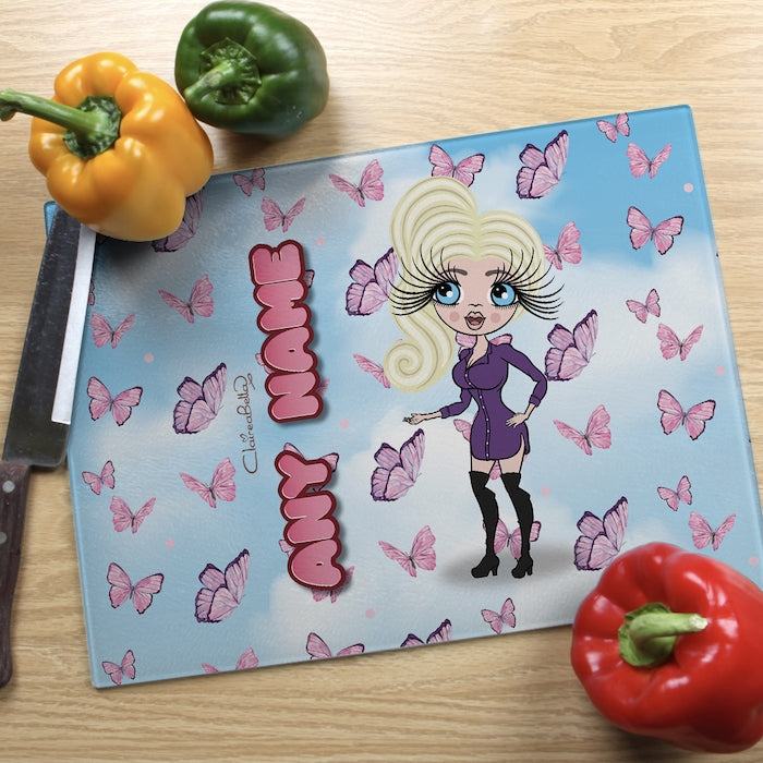 ClaireaBella Landscape Glass Chopping Board - Butterflies - Image 1