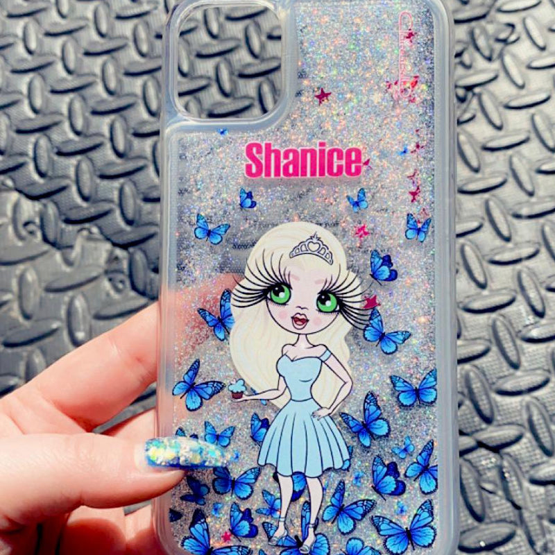 ClaireaBella Butterfly Liquid Glitter Phone Case - Silver
