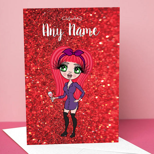 ClaireaBella Romantic Glitter Effect Greetings Card - Image 1
