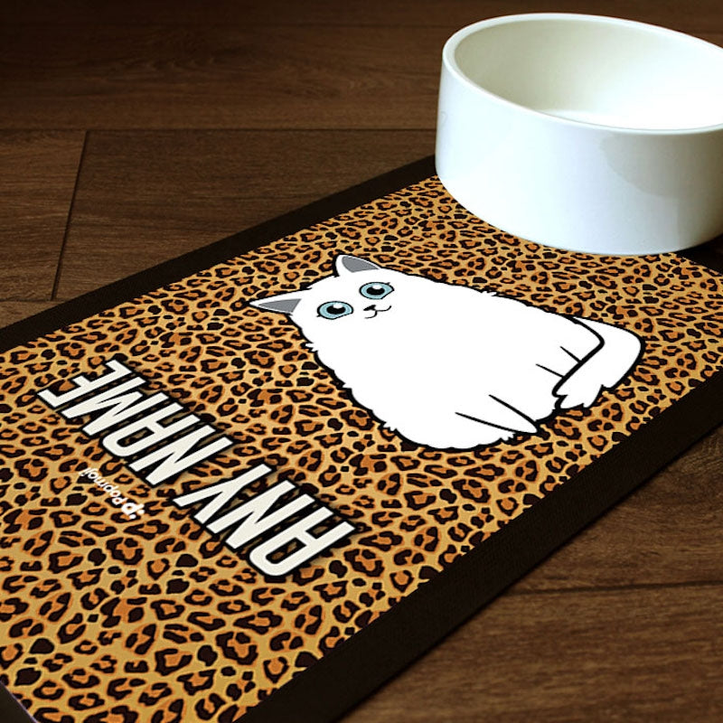 Personalised Cat Leopard Print Pet Mat - Image 1