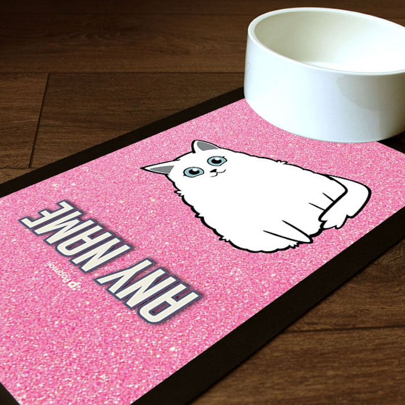 Personalised Cat Pink Glitter Pet Mat - Image 1