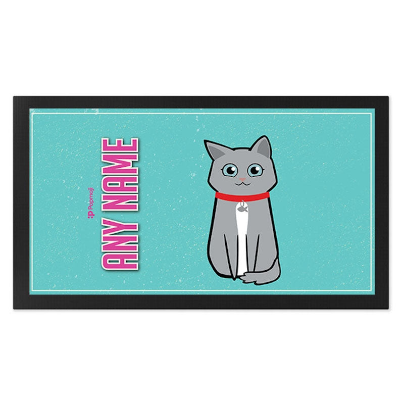 Personalised Cat Turquoise Pet Mat - Image 2