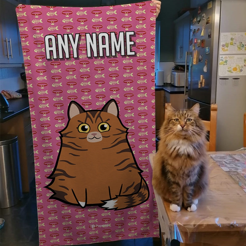 Personalised Cat Collar Pattern Beach Towel - Image 4