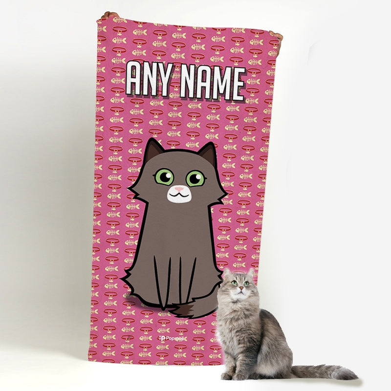 Personalised Cat Collar Pattern Beach Towel - Image 1
