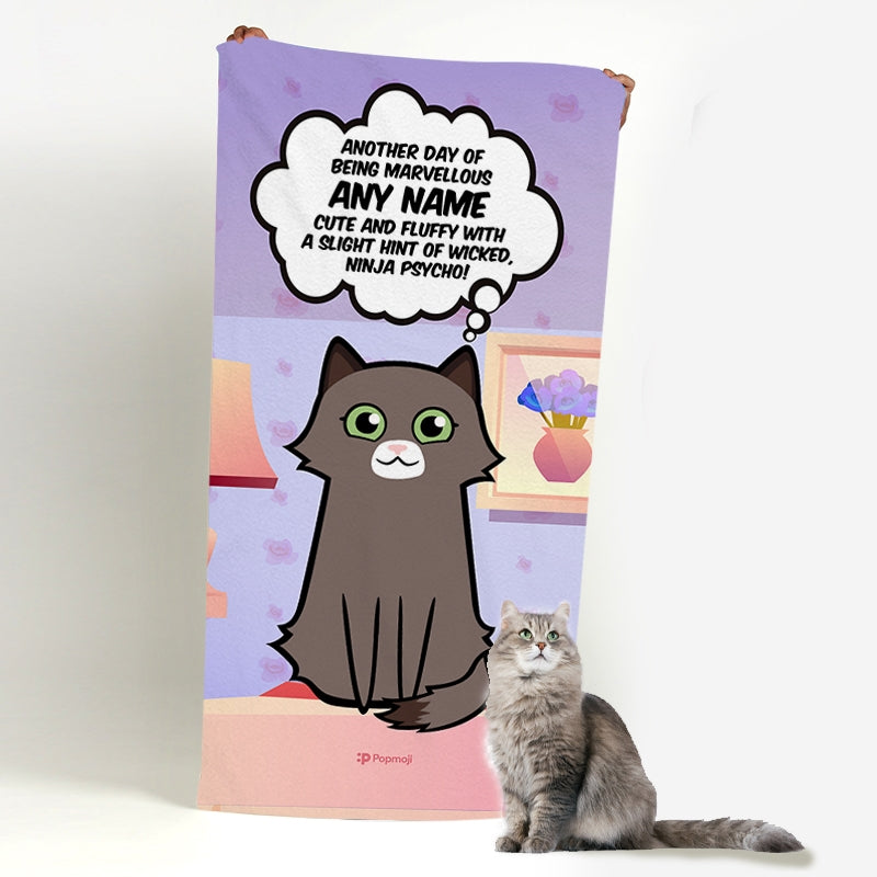 Personalised Cat Cute And Fluffy Bath Towel - Image 1