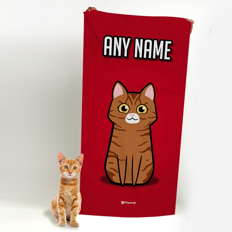 Personalised Cat Red Beach Towel - Image 4
