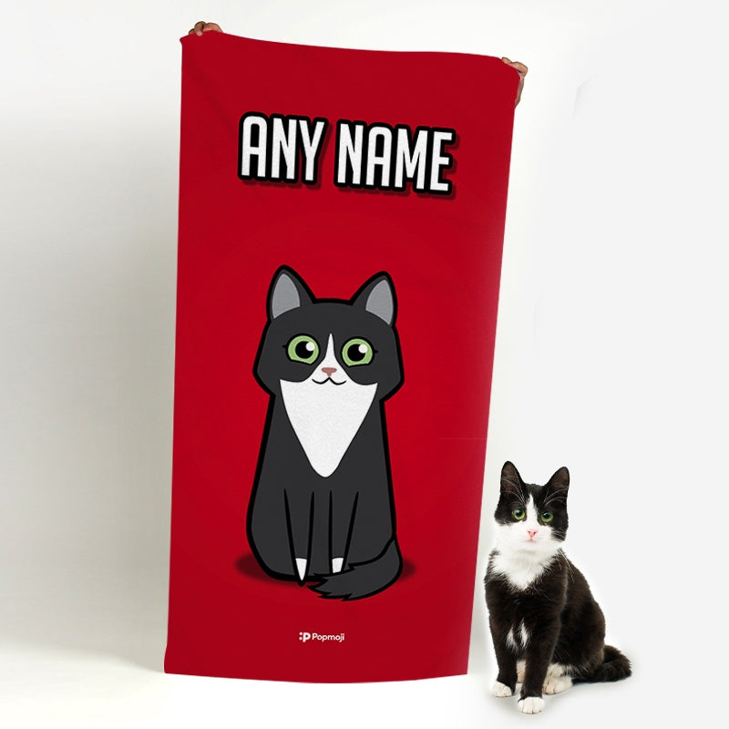 Personalised Cat Red Beach Towel - Image 1