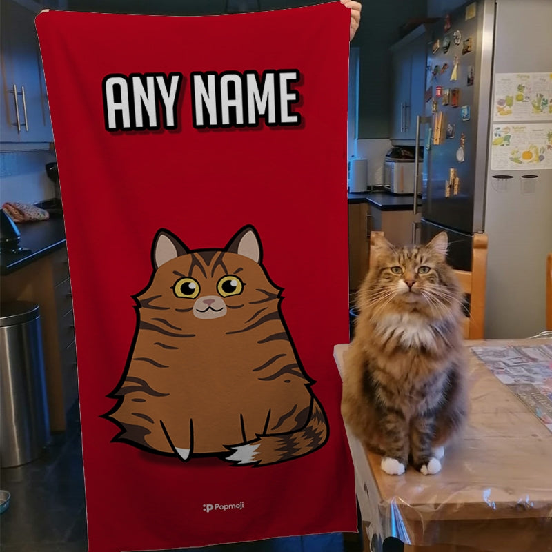 Personalised Cat Red Beach Towel - Image 2