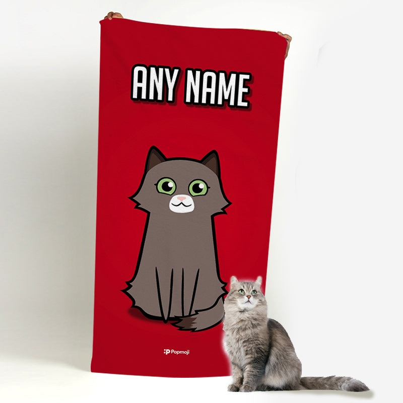 Personalised Cat Red Beach Towel - Image 3