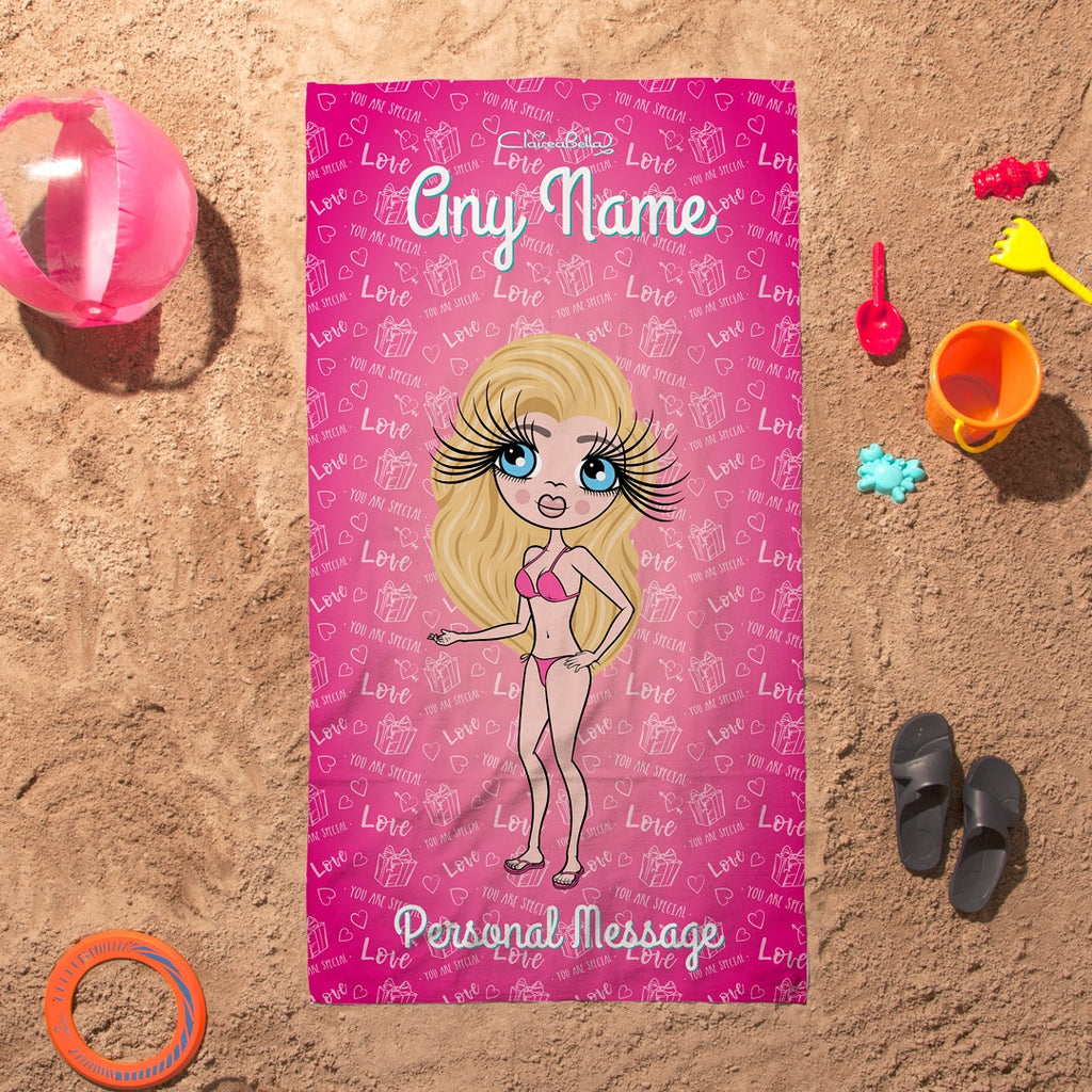 ClaireaBella Pink Presents Beach Towel - Image 3