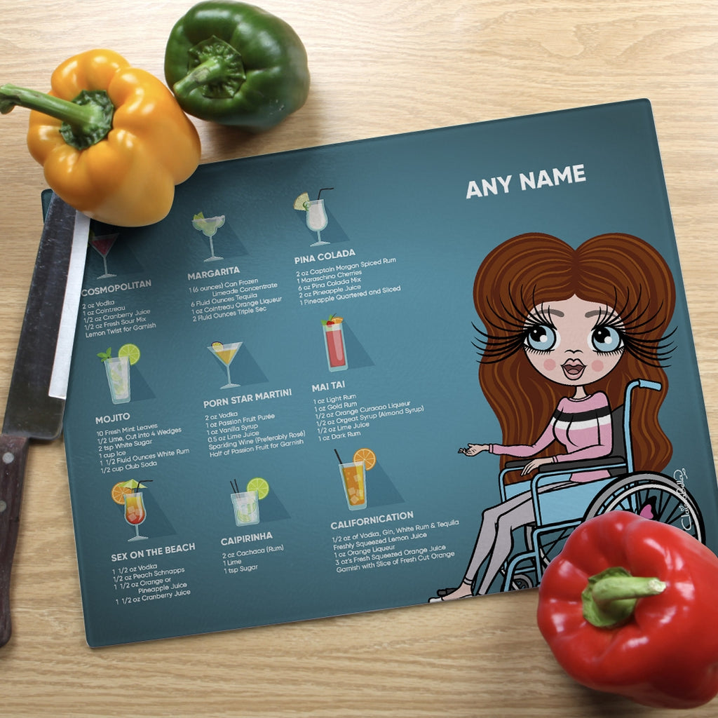 ClaireaBella Wheelchair Glass Chopping Board - Cocktail Recipes - Image 1
