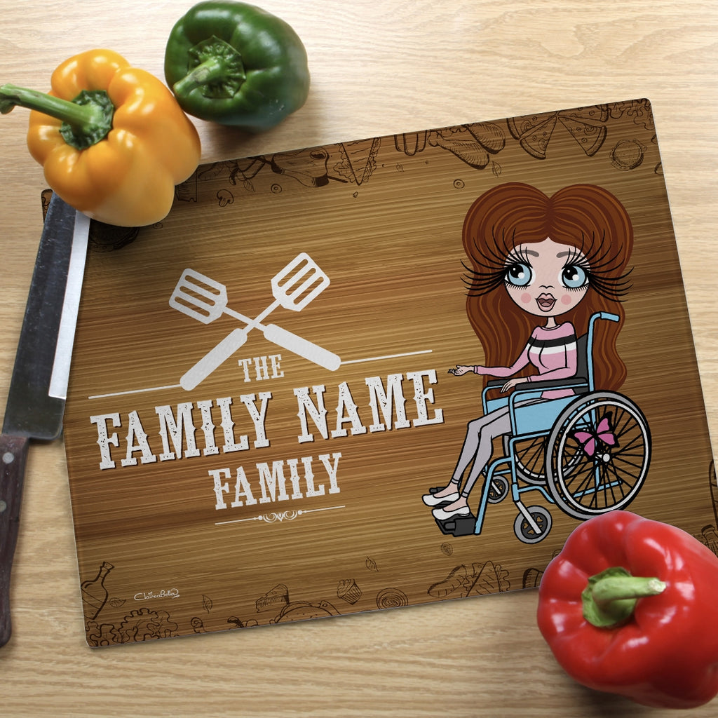 ClaireaBella Wheelchair Glass Chopping Board - Family Name - Image 1
