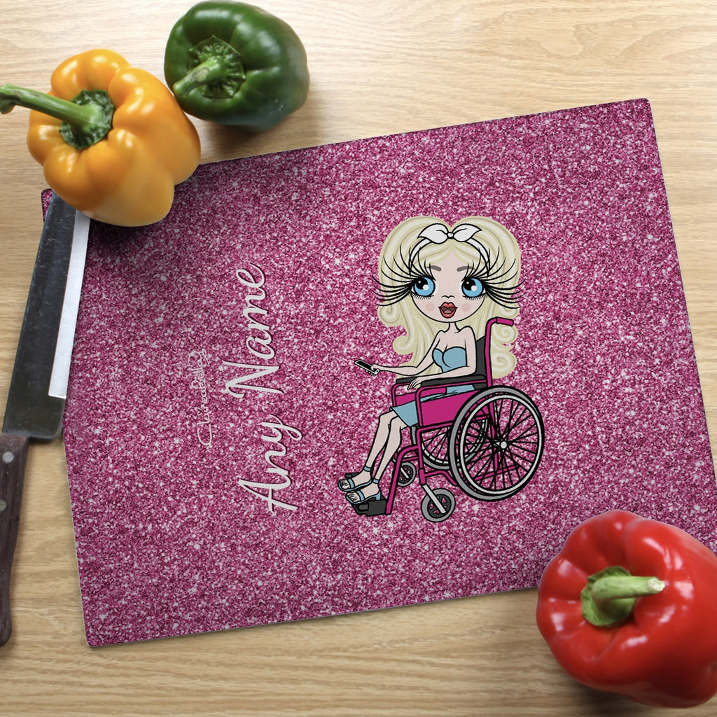 ClaireaBella Wheelchair Glass Chopping Board - Pink Glitter Effect - Image 1