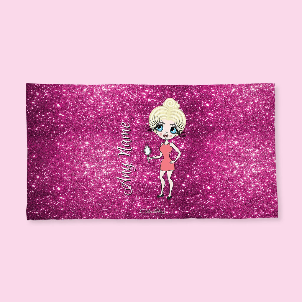ClaireaBella Pink Glitter Effect Hand Towel - Image 1