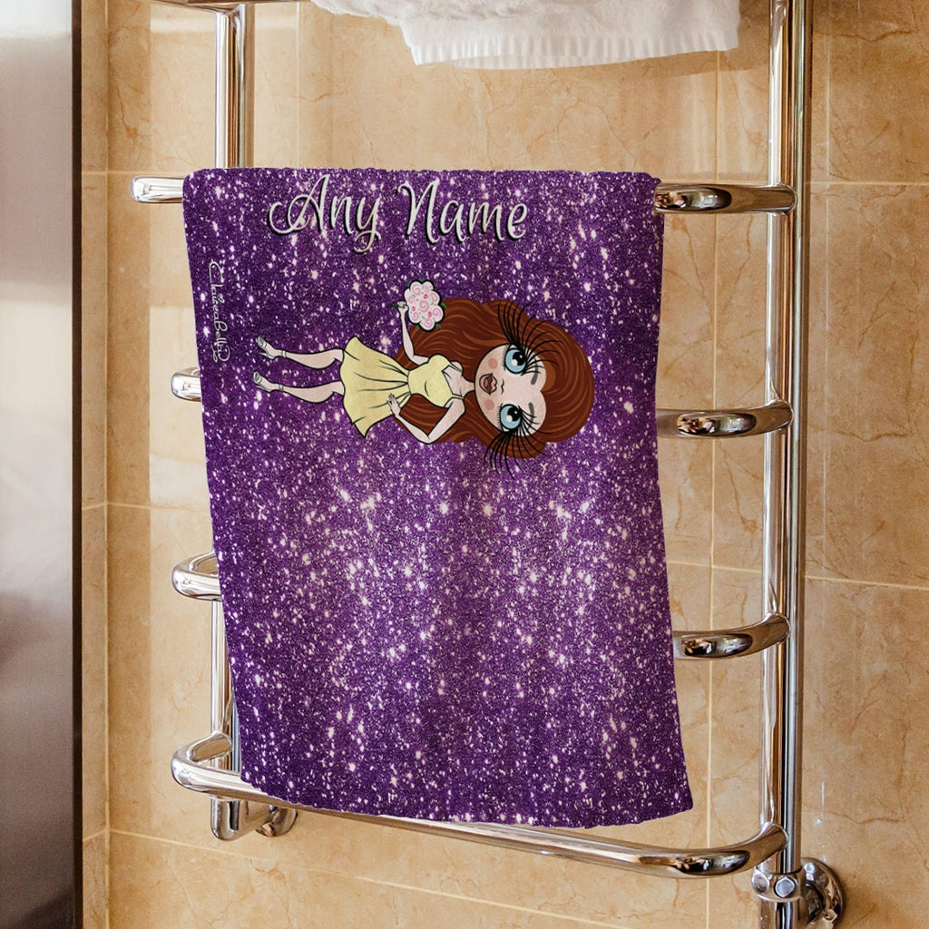 ClaireaBella Purple Glitter Effect Hand Towel - Image 1