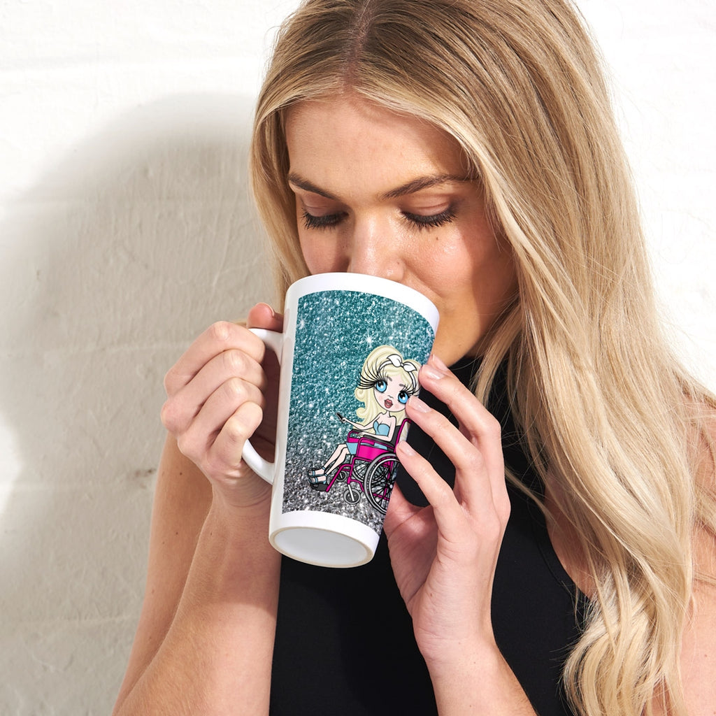 ClaireaBella Wheelchair Ombre Glitter Effect Latte Mug - Image 1