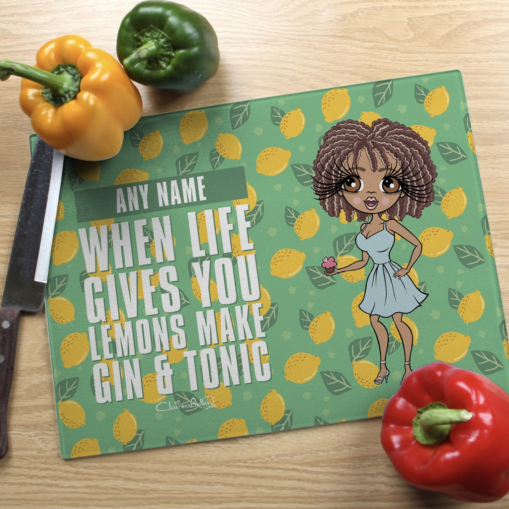 ClaireaBella Landscape Glass Chopping Board - Lemons - Image 1