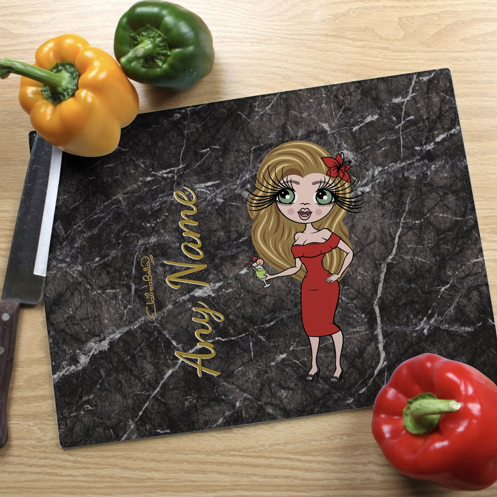 ClaireaBella Landscape Glass Chopping Board - Marble Effect - Image 1