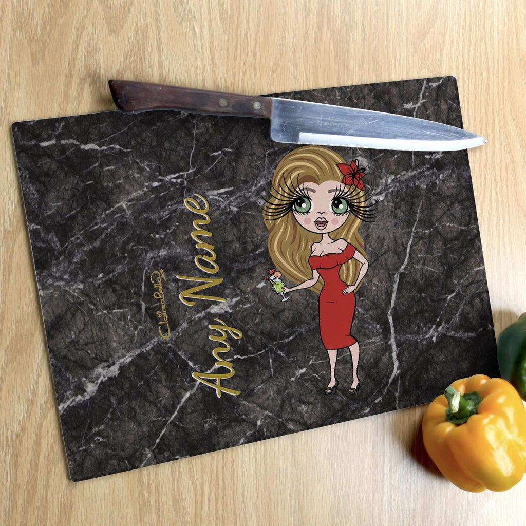 ClaireaBella Landscape Glass Chopping Board - Marble Effect - Image 5