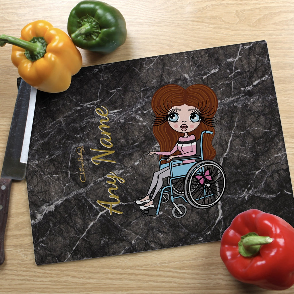 ClaireaBella Wheelchair Glass Chopping Board - Marble Effect - Image 1