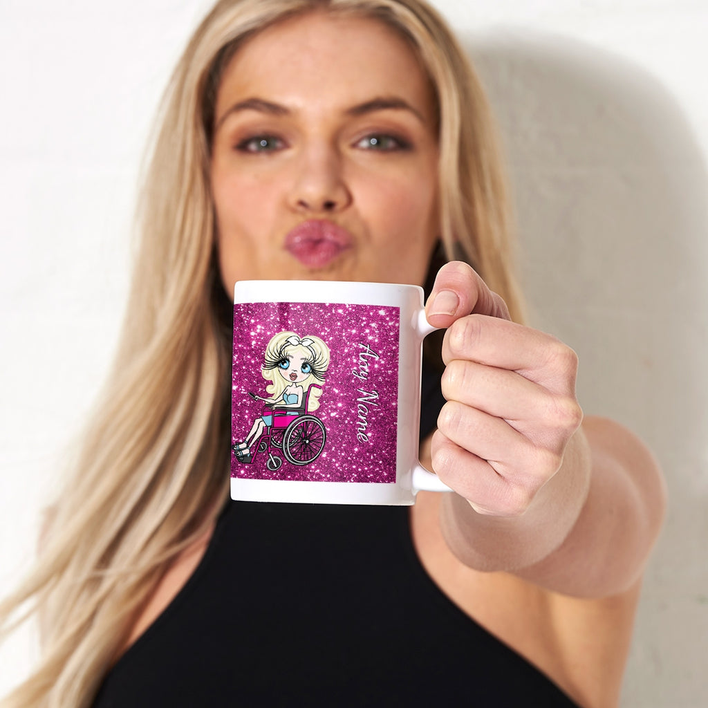 ClaireaBella Wheelchair Glitter Effect Mug - Image 1