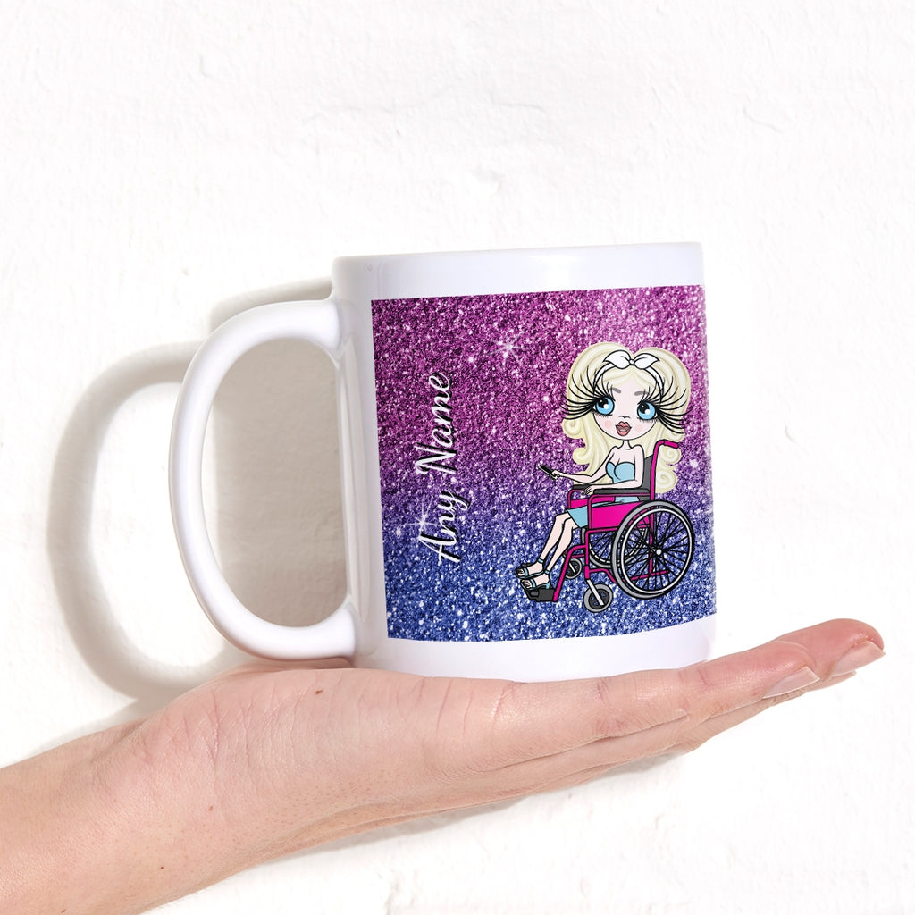 ClaireaBella Wheelchair Ombre Glitter Effect Mug - Image 1