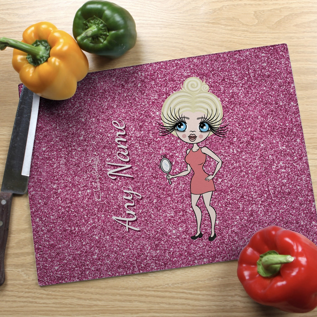 ClaireaBella Landscape Glass Chopping Board - Pink Glitter Effect - Image 1