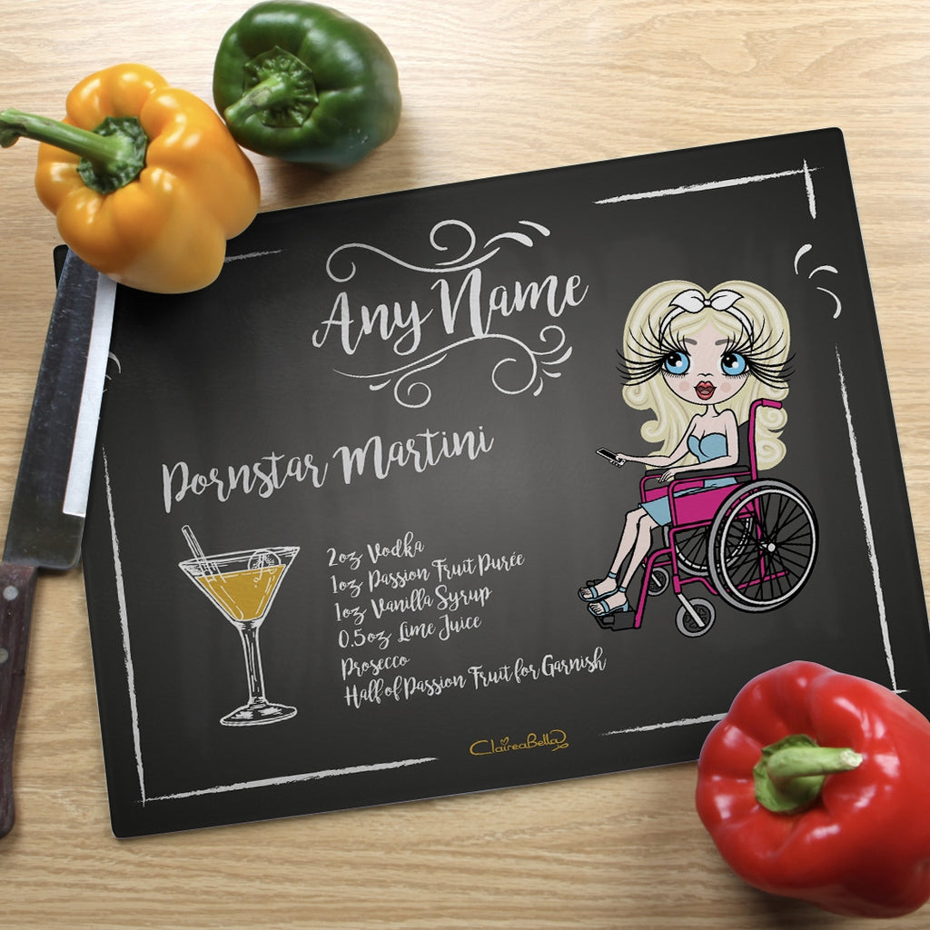 ClaireaBella Wheelchair Glass Chopping Board - Pornstar Martini - Image 1