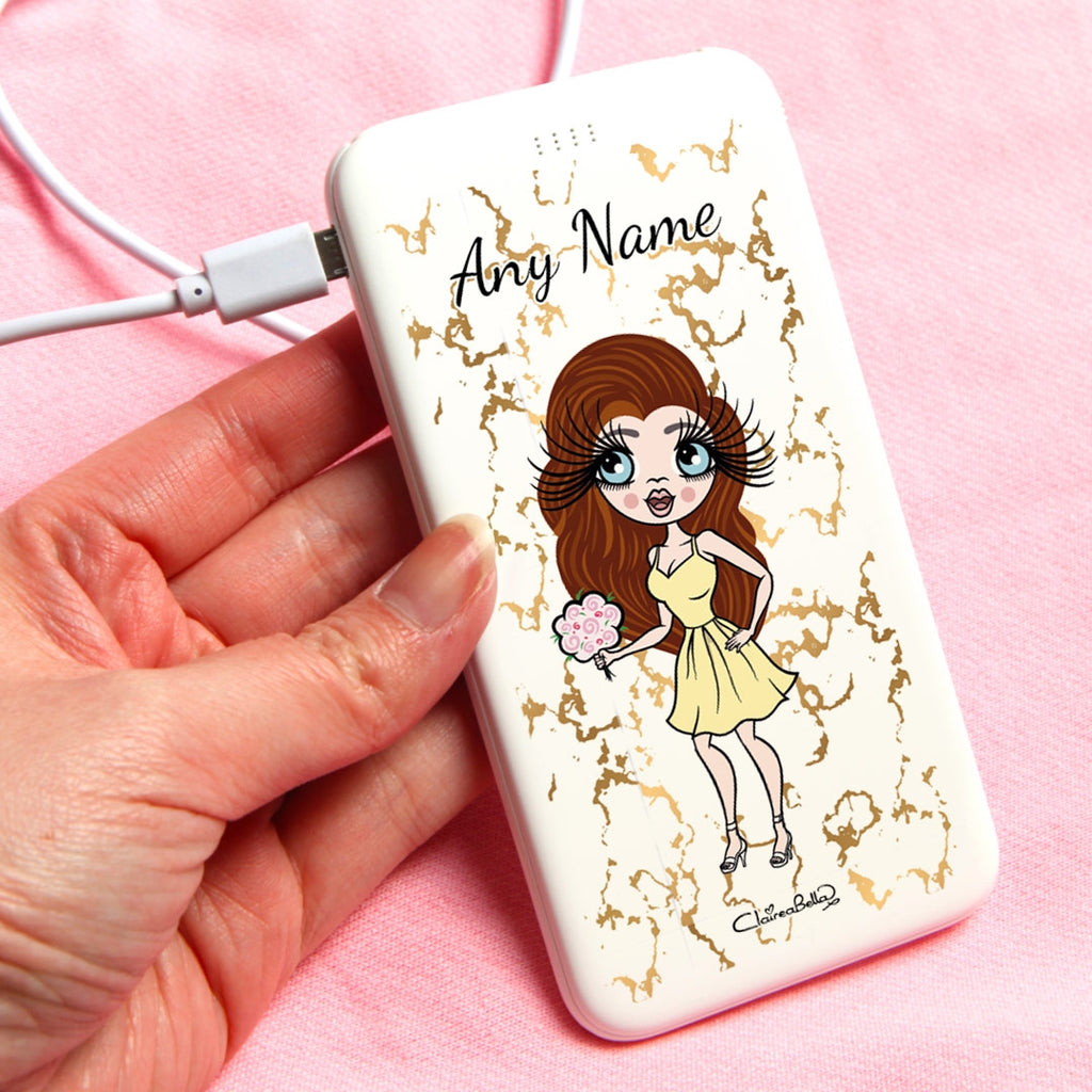 ClaireaBella Gold Marble Portable Power Bank - Image 1
