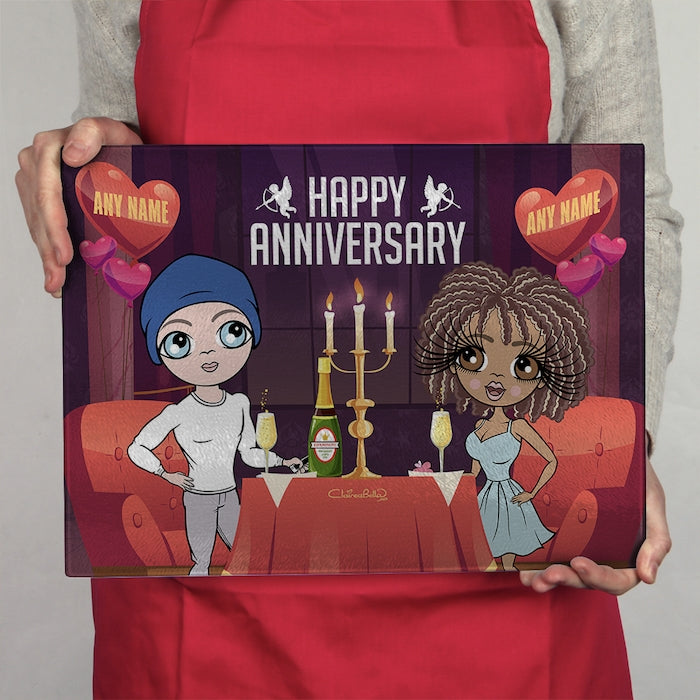 ClaireaBella Glass Chopping Board - Couples Anniversary Date - Image 1