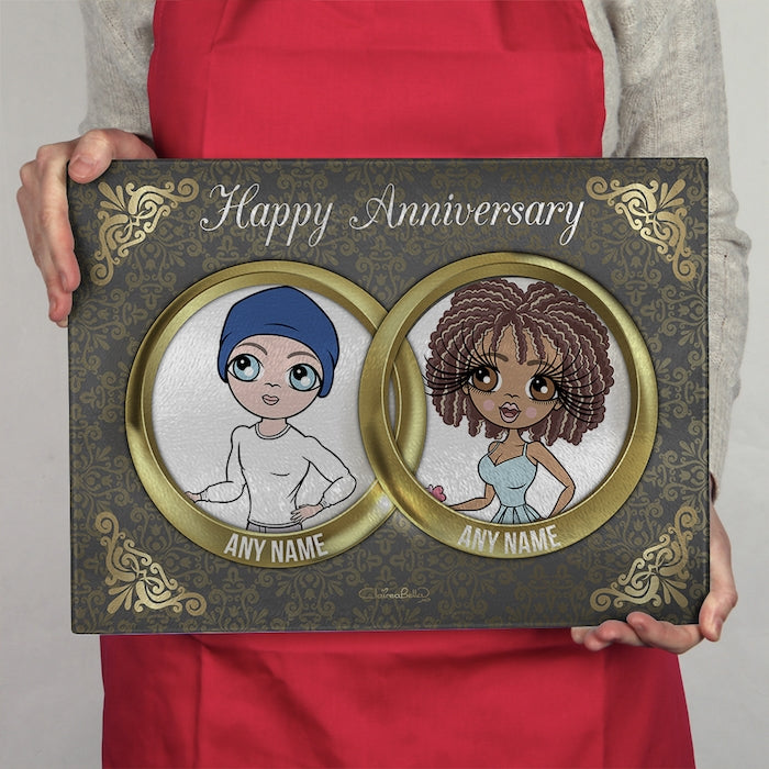 ClaireaBella Glass Chopping Board - Couples Anniversary Rings - Image 1