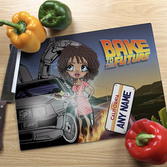 ClaireaBella Glass Chopping Board - Bake To The Future - Image 1