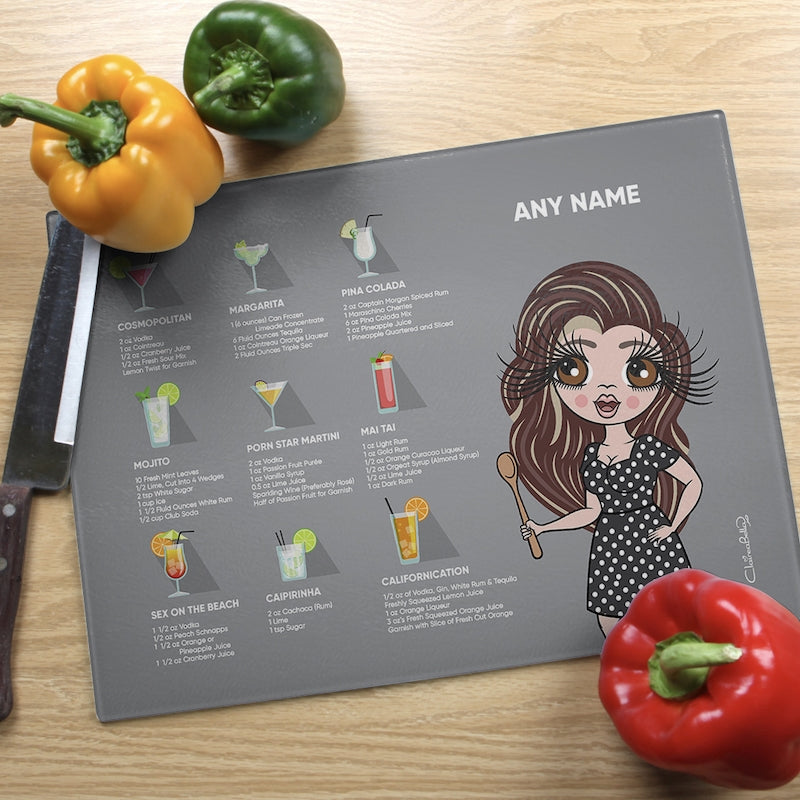 ClaireaBella Glass Chopping Board - Cocktail Recipes Grey - Image 2
