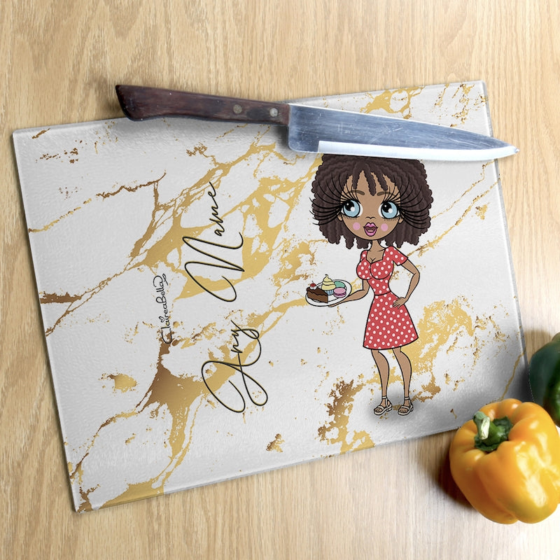 ClaireaBella Glass Chopping Board - Gold Marble - Image 3