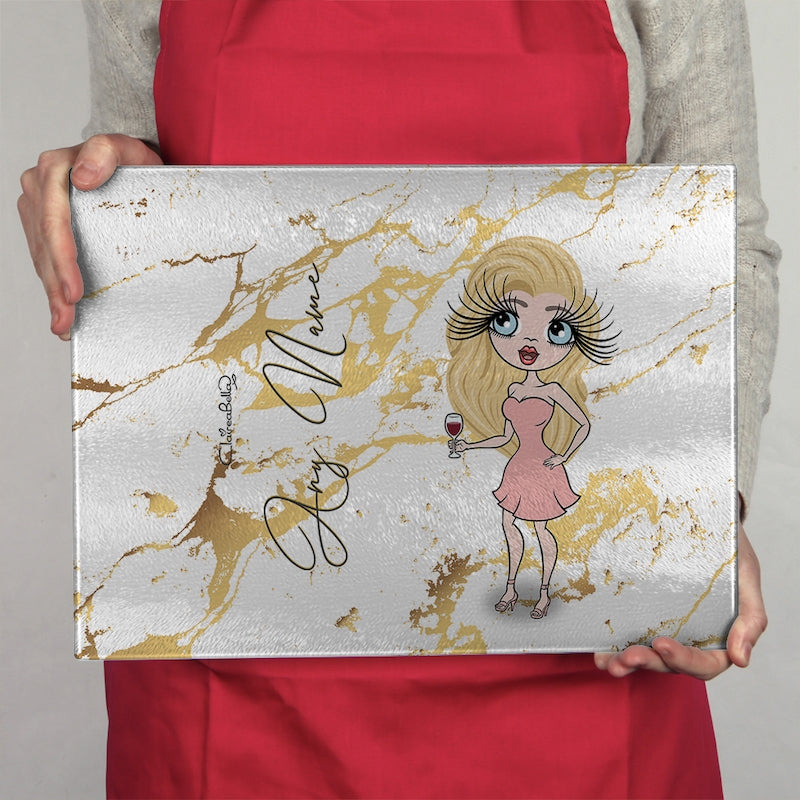 ClaireaBella Glass Chopping Board - Gold Marble - Image 5